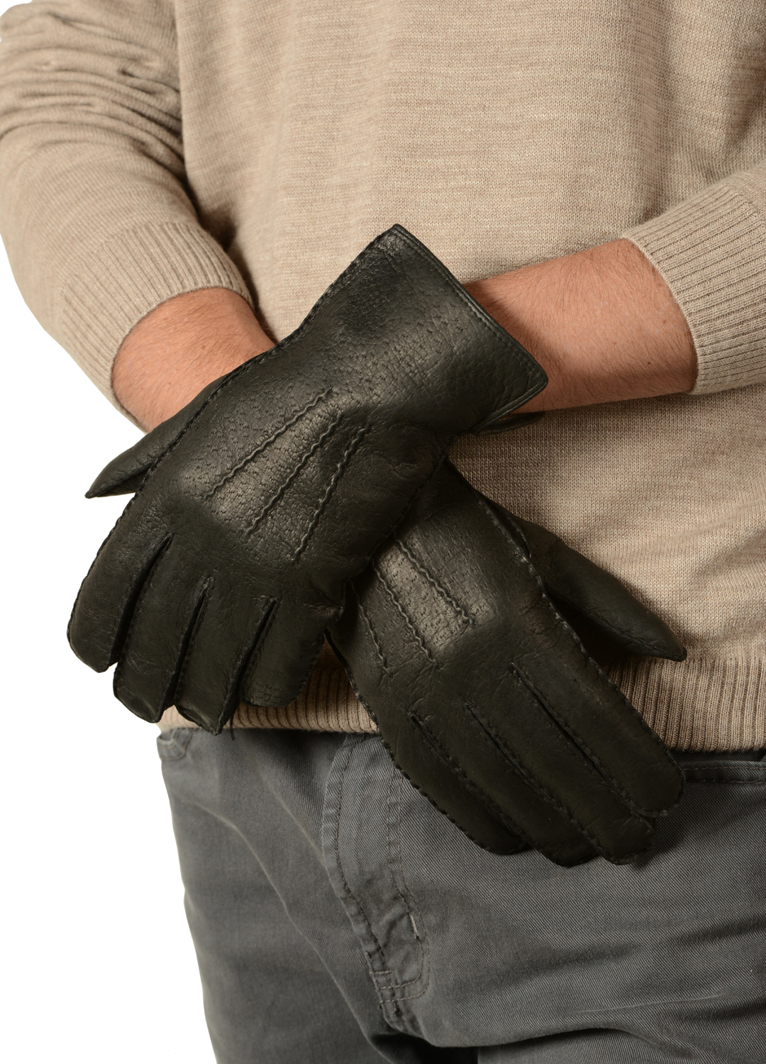 Mens Peccary Leather Gloves Alpaca Collections